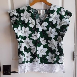 J.O.A. Tropical Flower Top with Ruffle Sleeves S